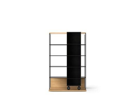LOP401 Literatura Open Bookcase Super-matt Oak, Ebony Stained Oak, Black Textured Metal