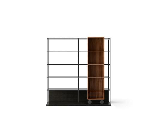 LOP420 Literatura Open Bookcase Dark Grey Stained Oak, Super-matt Walnut, Black Textured Metal