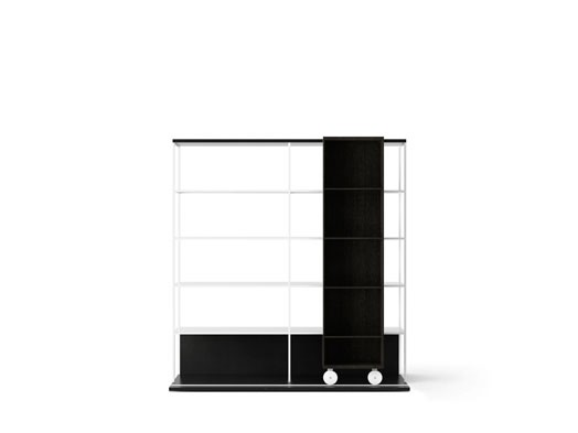 LOP420 Literatura Open Bookcase Ebony Stained Oak, Ebony Stained Oak, White Textured Metal