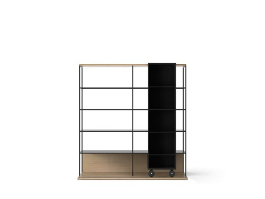 LOP420 Literatura Open Bookcase Whitened Oak, Ebony Stained Oak, Black Textured Metal