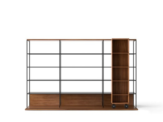 LOP421 Literatura Open Bookcase Super-matt Walnut, Super-matt Walnut, Black Textured Metal