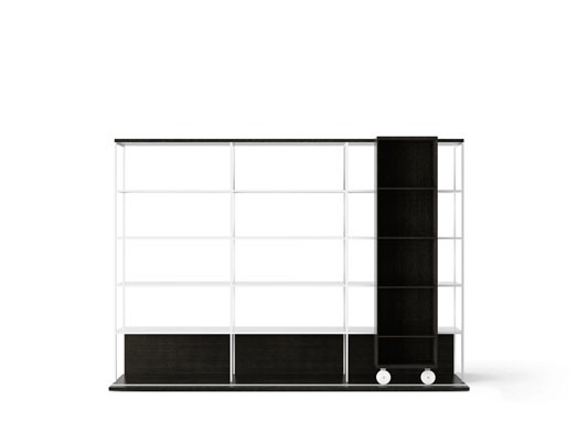 LOP430 Literatura Open Bookcase Ebony Stained Oak, Ebony Stained Oak, White Textured Metal