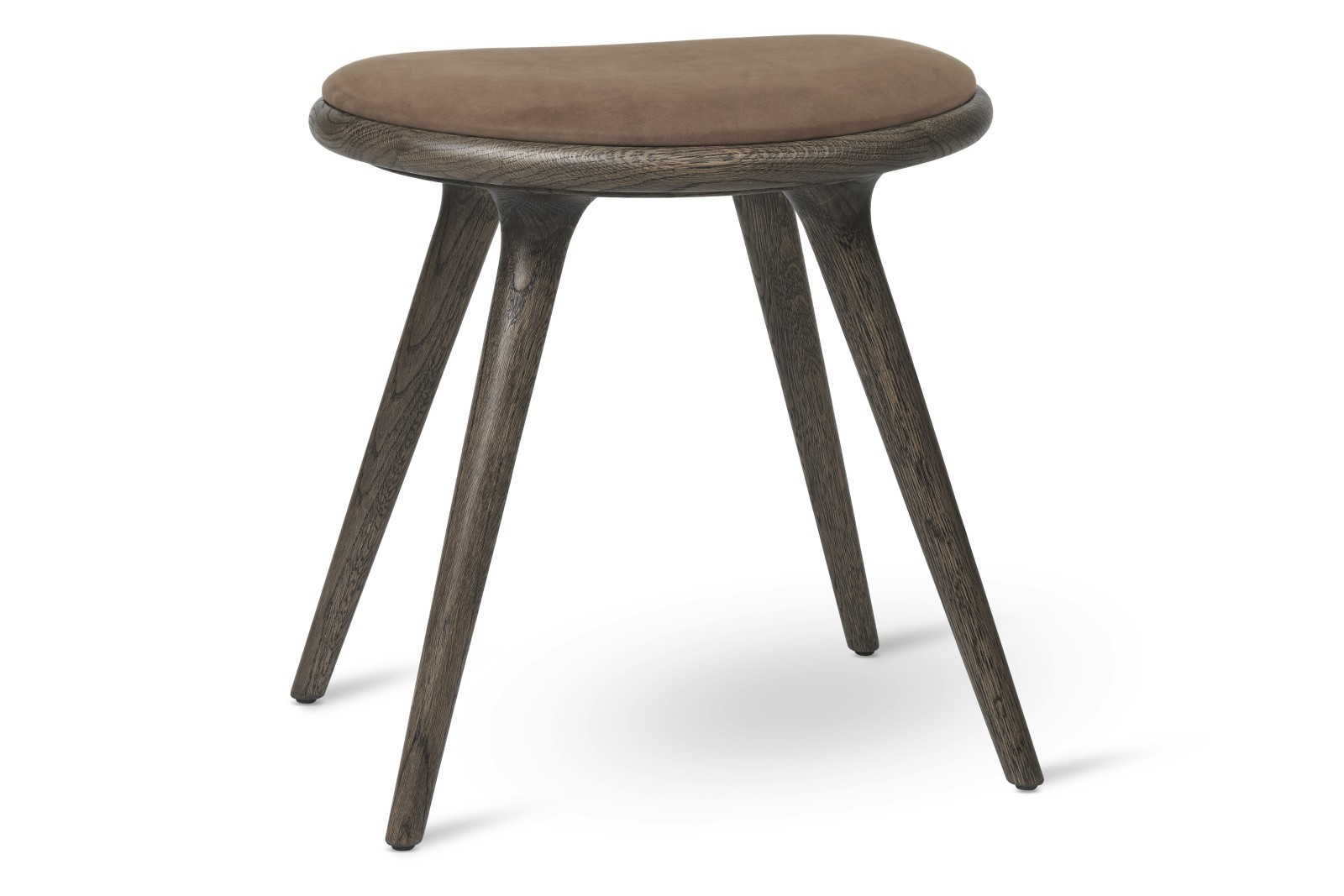 Low Stool Sirka Grey Stained Solid Oak, Brown, 47H