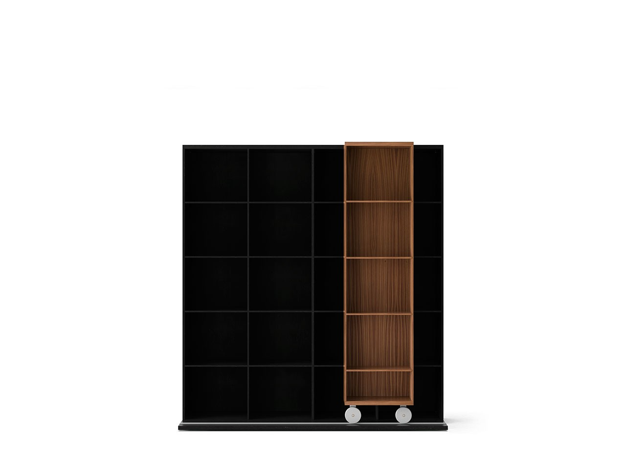LTL420 Literatura Light Bookcase Super-matt Walnut, Dark Grey Stained Oak