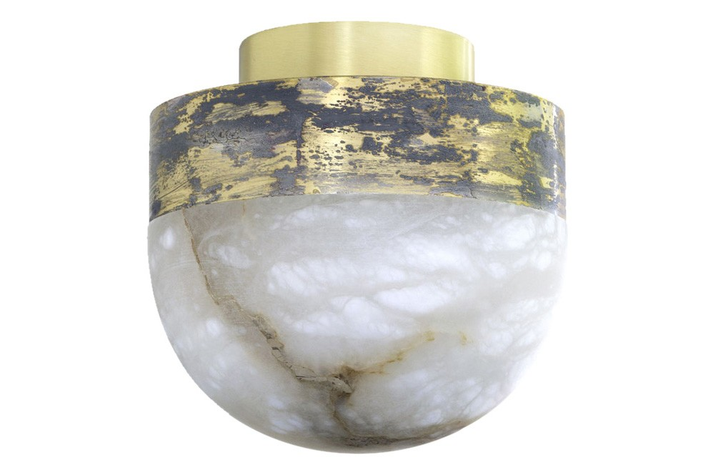 Lucid Flush Ceiling Light Small Honed Alabaster with Oxidised Silvered Brass
