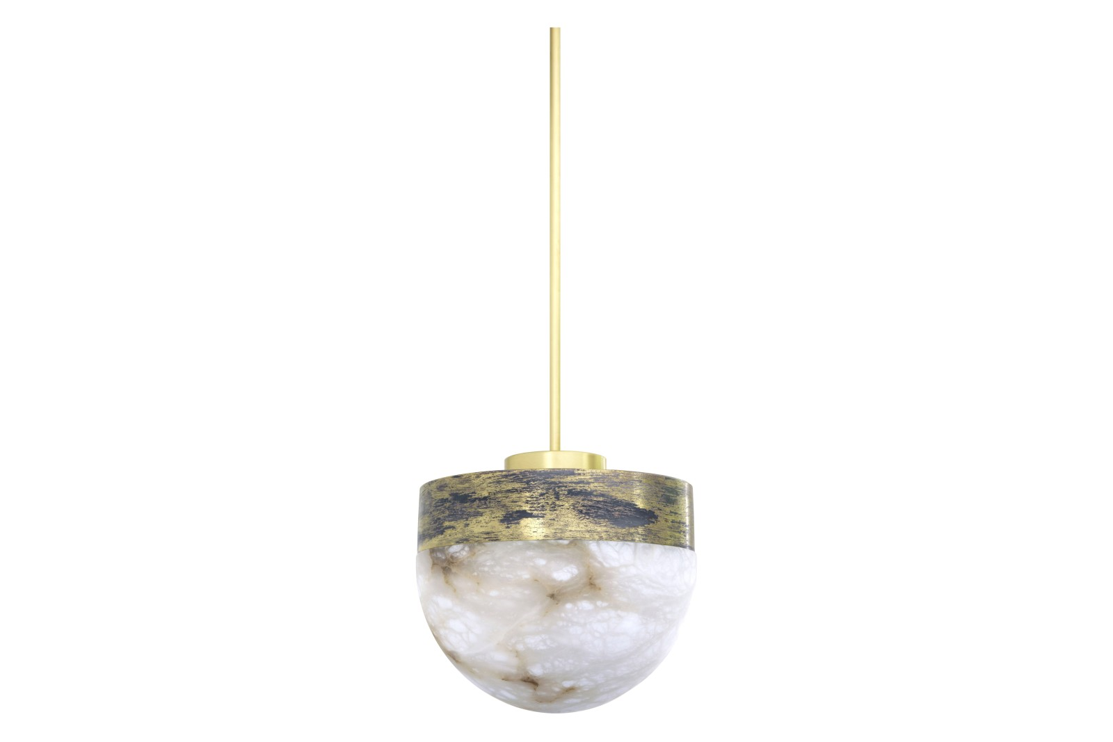 Lucid Pendant Light Medium Honed Alabaster with Satin Brass, drop rod 200
