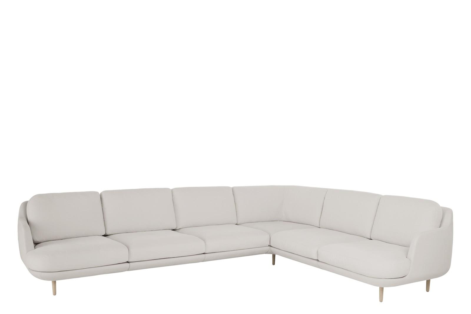 Lune JH610 6-Seater Sofa with Corner Christianshavn Fabric 1110, aluminium