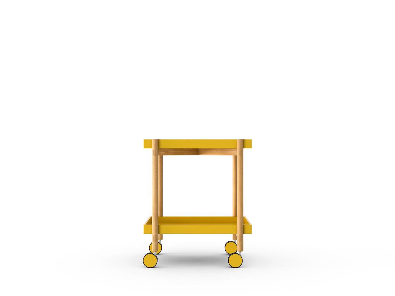 Mai Tai Trolley Mustard Texturised Lacquered, Super-Matt Oak