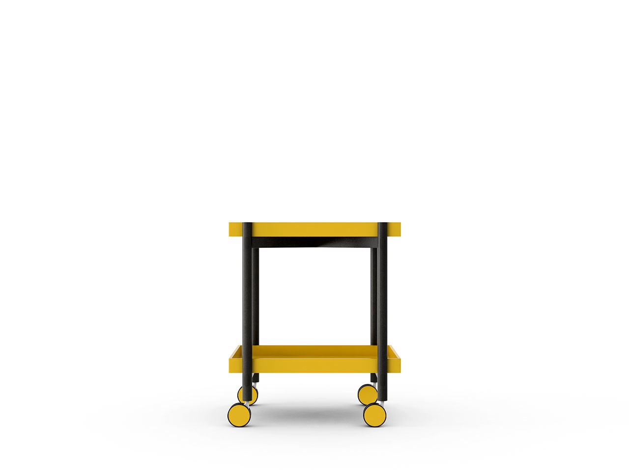 Mai Tai Trolley Mustard Texturised Lacquered, Dark Grey Stained Oak