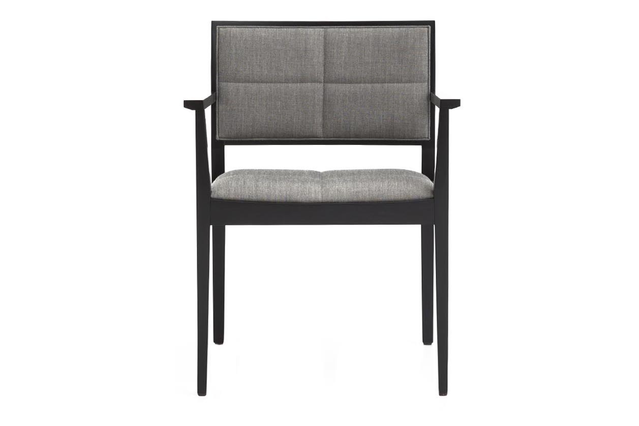 Manila Corporate Armchair with Upholstered Seat and Backrest Andreu World Softfibra, Wood Beech 311
