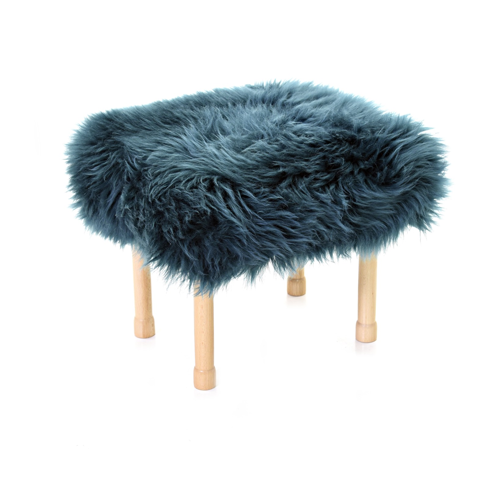 Megan - Sheepskin Footstool Teal