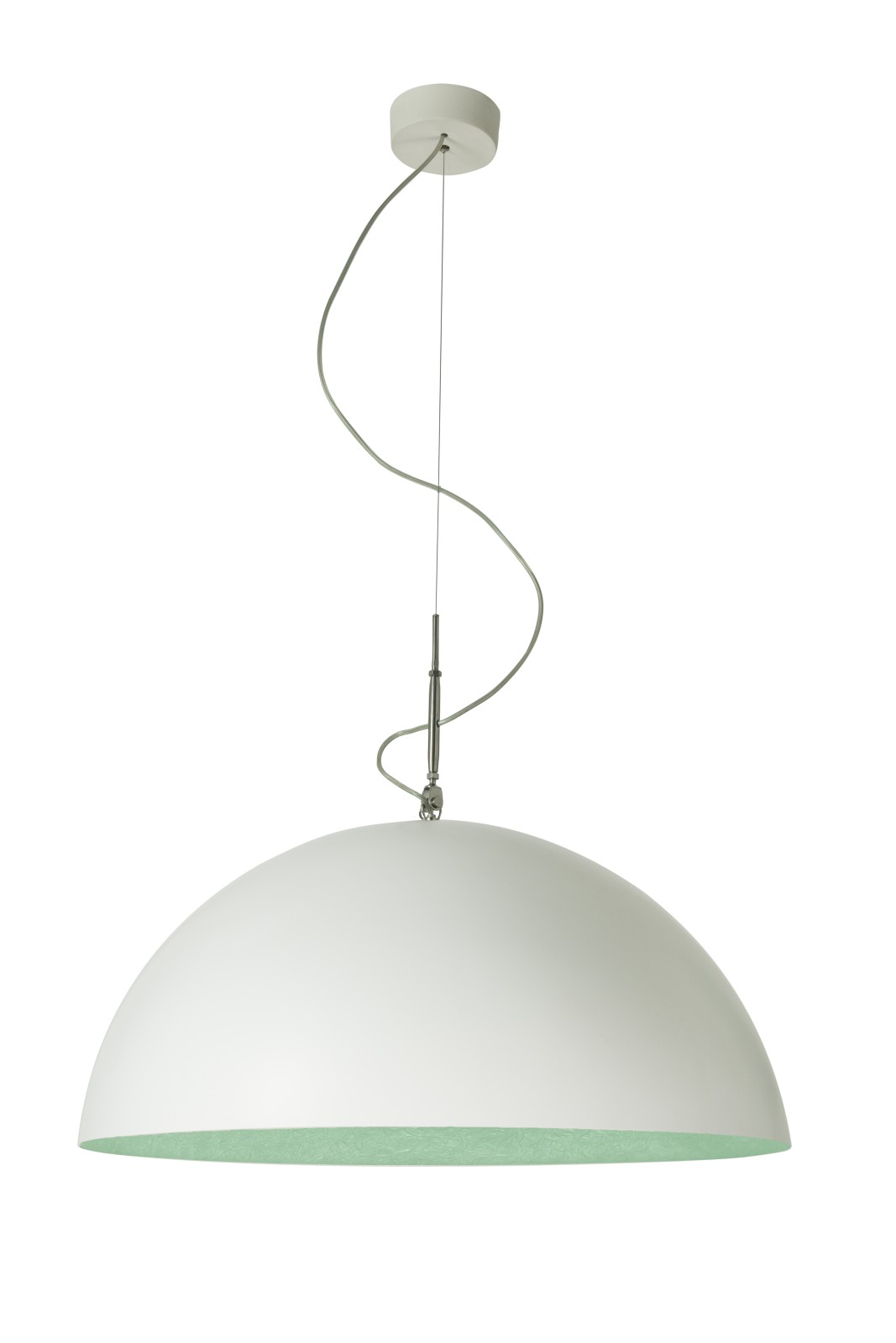 Mezza Luna Pendant Light White, Turquoise, 70cm