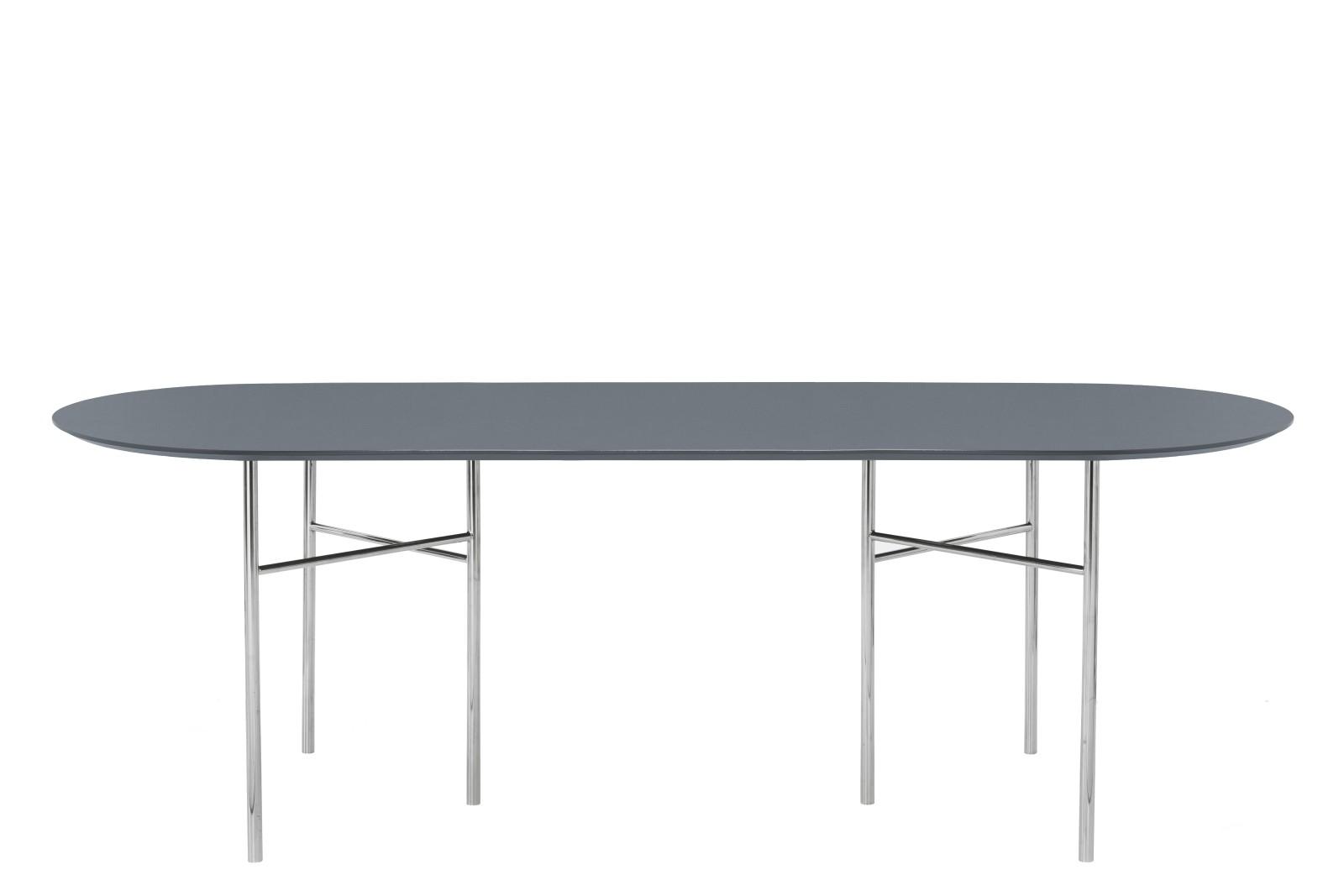 Mingle Oval Dining Table Dusty Blue Linoleum, Metal Chrome, 90 x 220cm