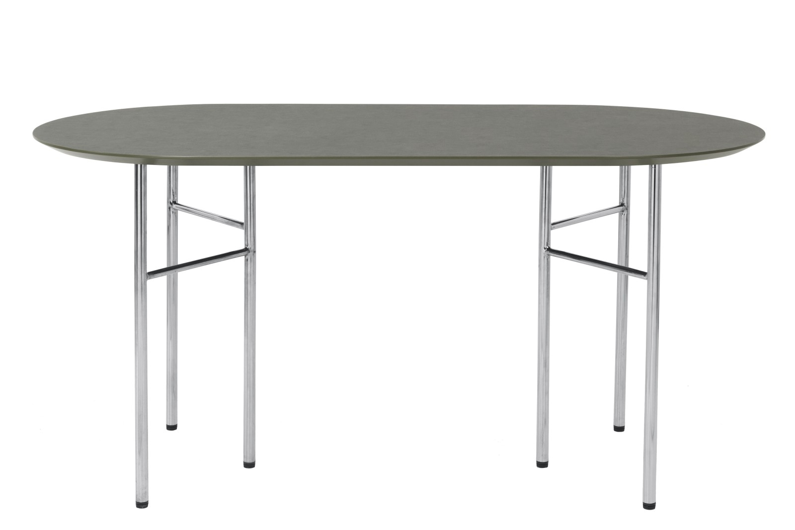 Mingle Oval Dining Table Tarkett Linoleum, Metal Chrome, 75 x 150cm
