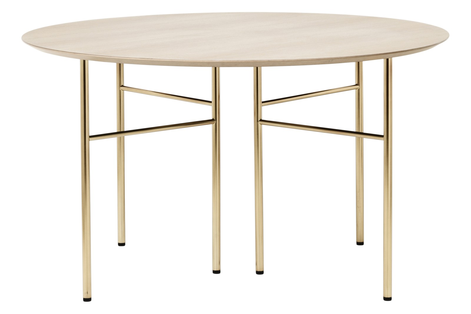 Mingle Round Dining Table Natural Oak, Mingle Table Legs W68 - Brass (Set of 2)
