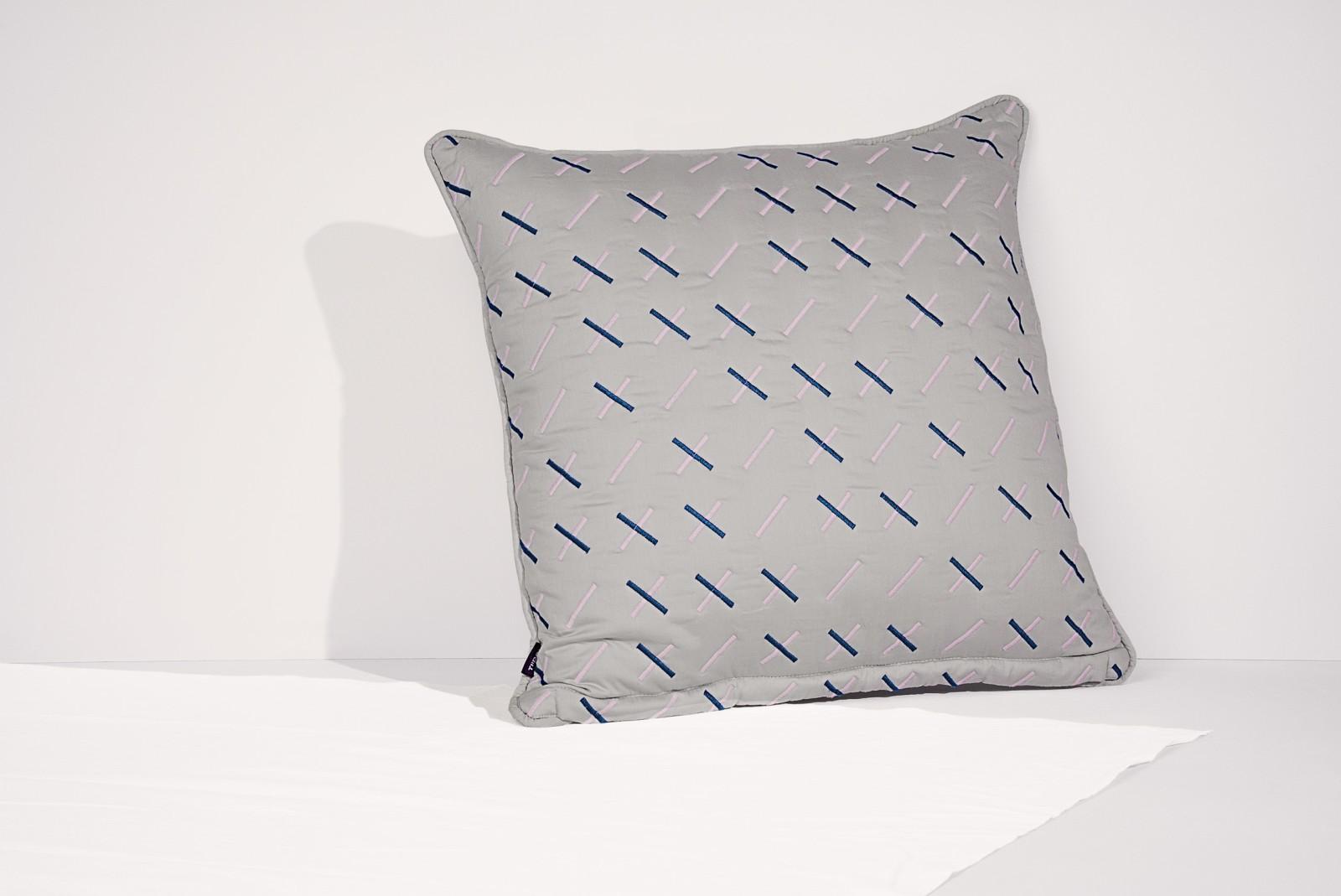 Modern Kantha Cushion Kantha Stitch, Grey, Square