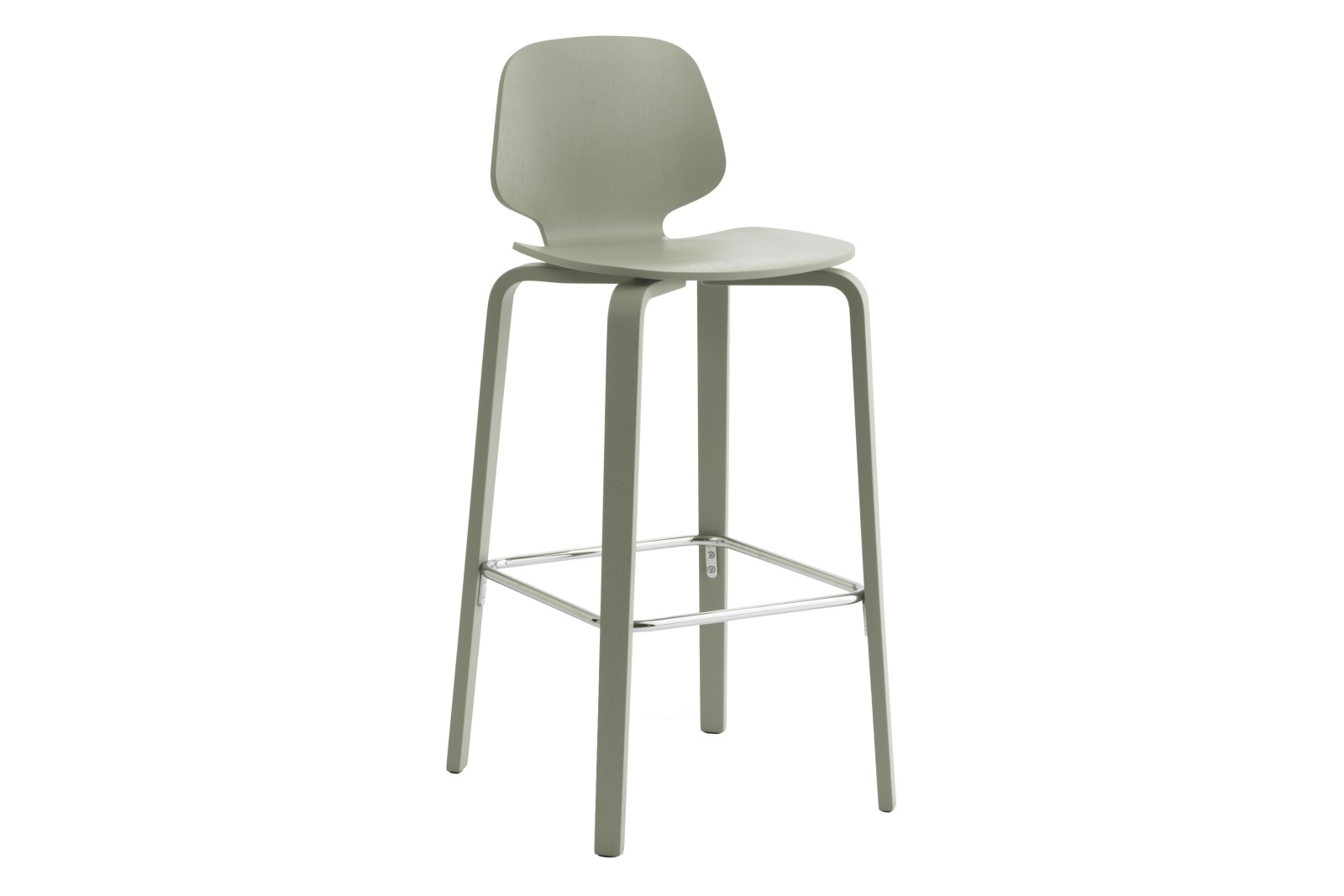 My Chair - Barstool, Un-Upholstered - Veneer Legs Moss Painted Ash, 75