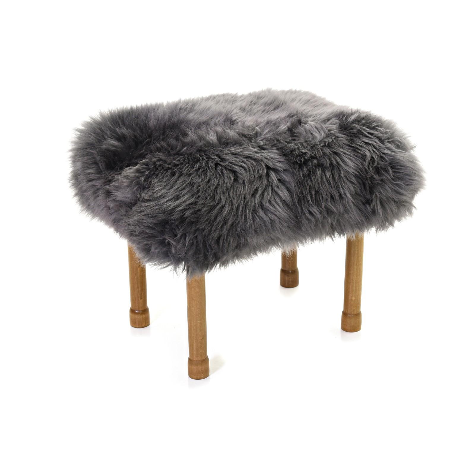 Myfanwy - Sheepskin Footstool Slate Grey