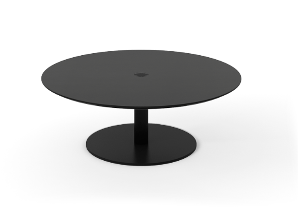 Núcleo Coffee Table, Round Black Textured Metal, Ebony Stained Oak
