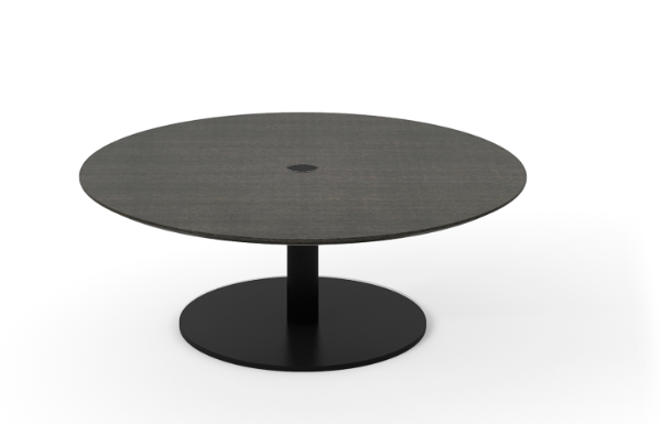 Núcleo Coffee Table, Round Black Textured Metal, Dark Grey Stained Oak
