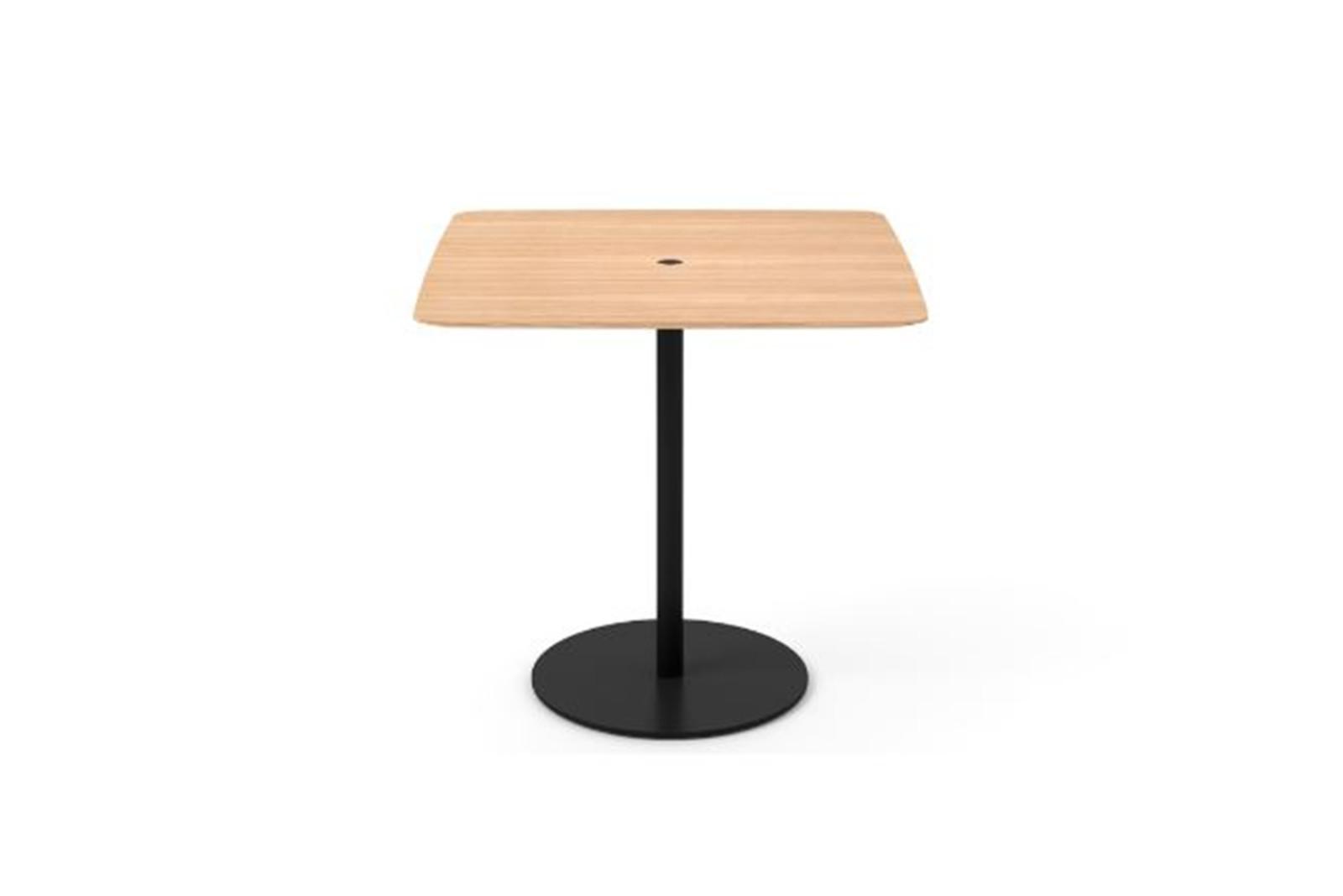 Núcleo Dining Table, Square Black Textured Metal, Whitened Oak, 80