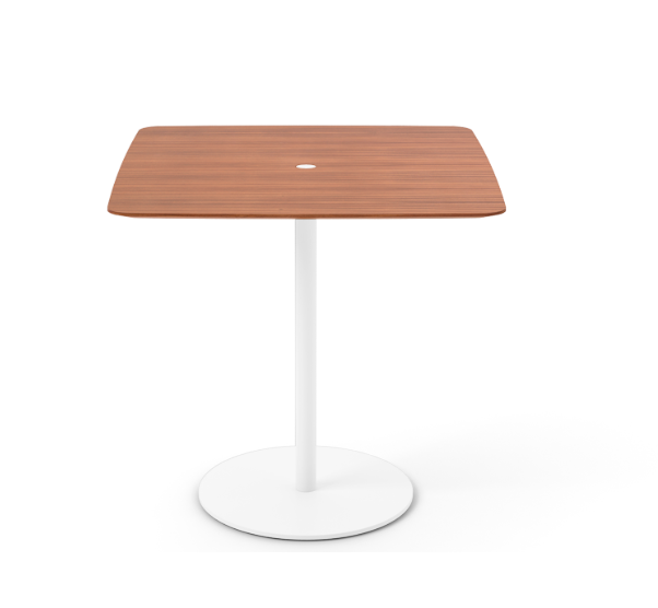Núcleo Dining Table, Square White Textured Metal, Super-matt Walnut, 80