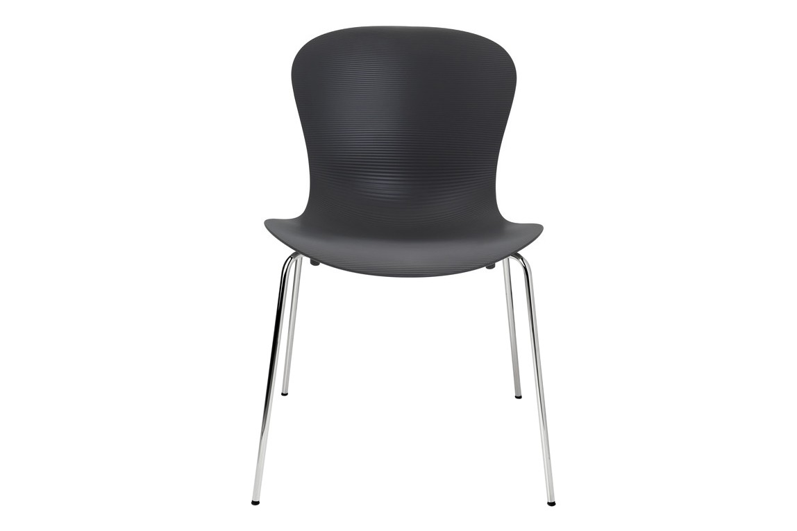 Nap Stackable Chair Nap Pepper Grey, Chromed Steel