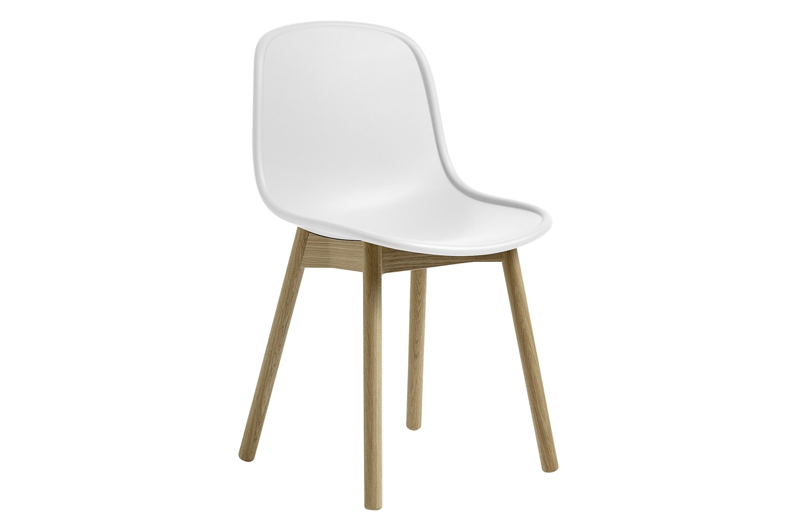 Neu 13 Dining Chair Plastic Cream White, Wood Matt Oak