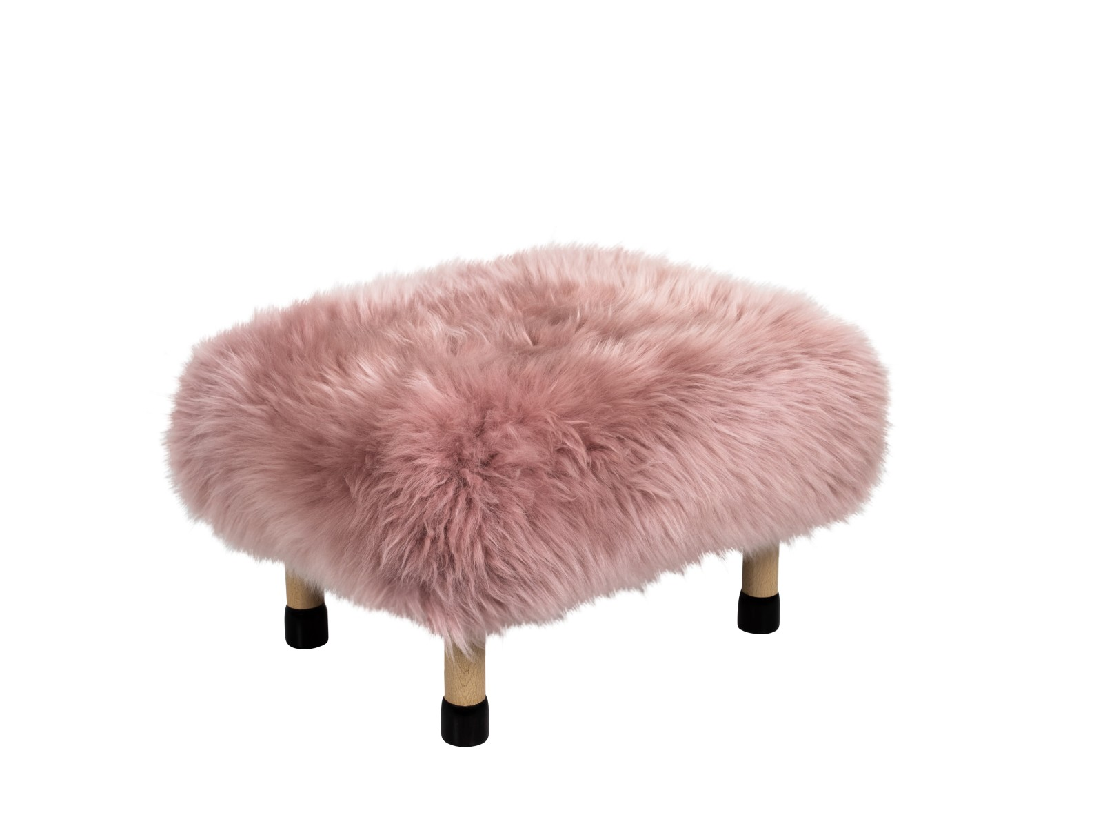 Nia - Sheepskin Footstool Dusky Pink