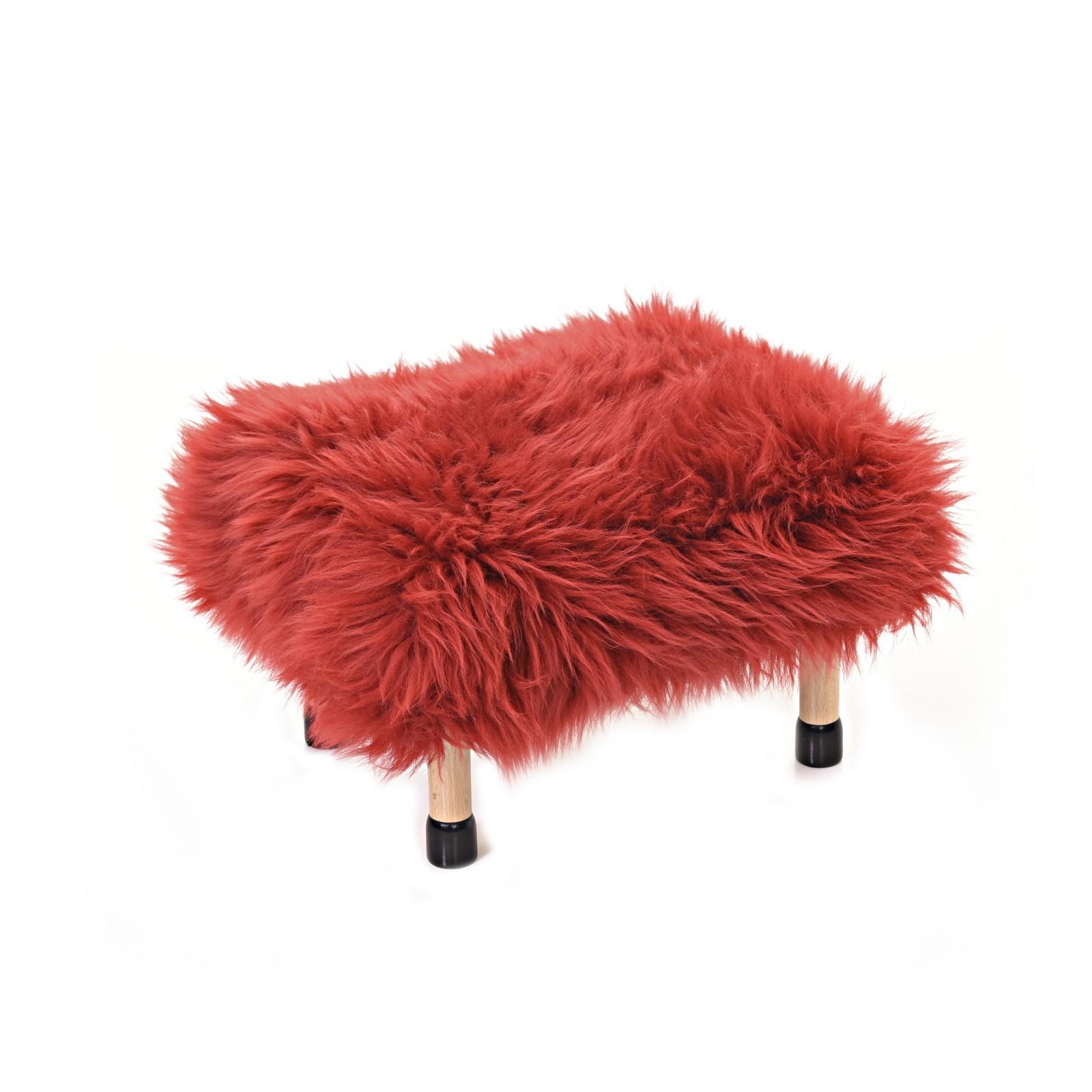 Nia - Sheepskin Footstool Dragon Red