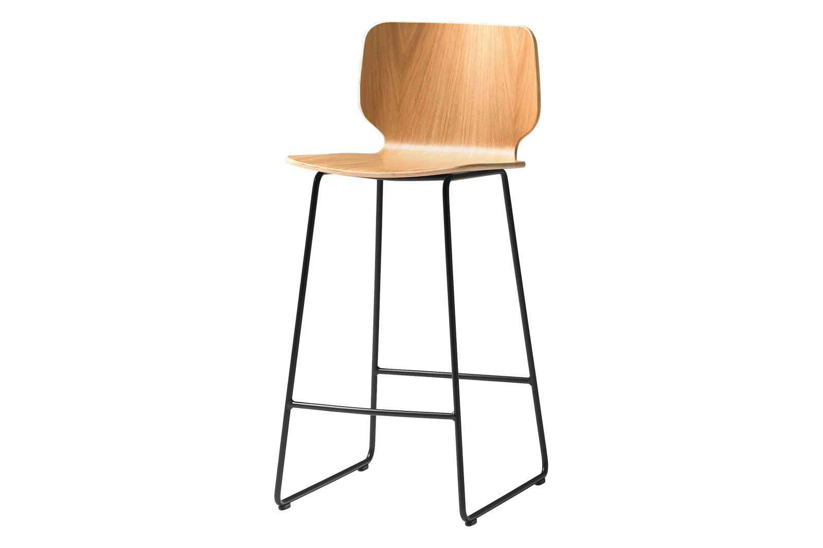Nim Barstool - Set of 4 Oak Veneer Natural, Colour B00-Black, 90cm