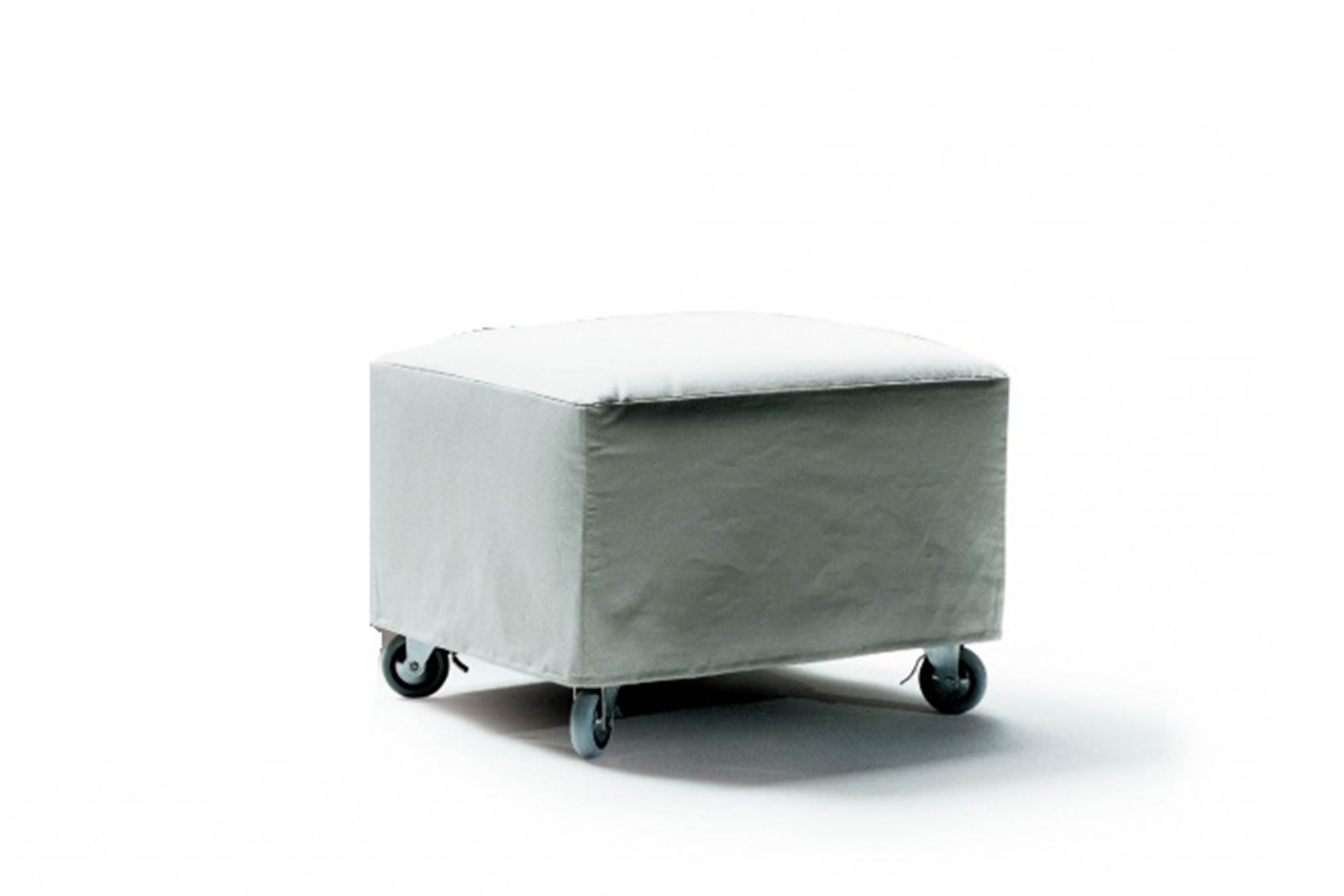 Nonnamaria Ottoman with Castors Sable 1640, Wood Finishes Noce Canaletto