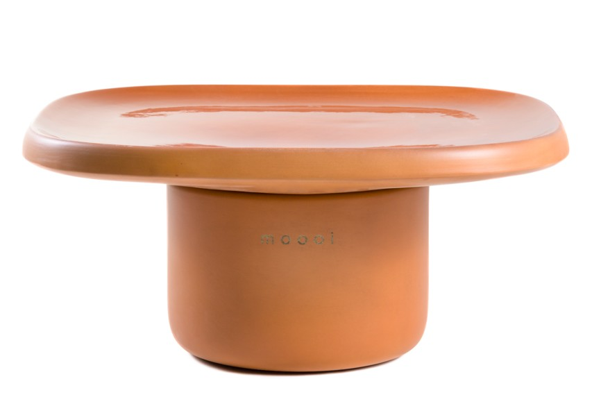 Obon Square Table, Low Orange Ceramics