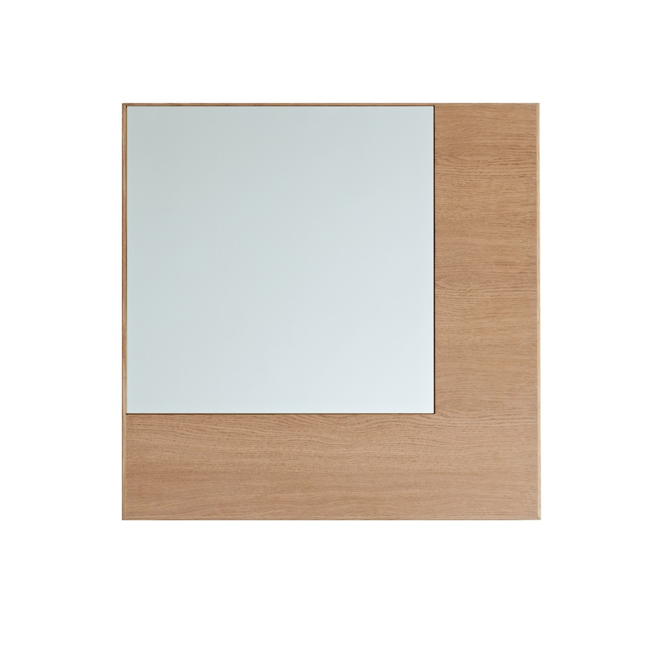 Offset Mirror Square Clear Mirror, Oak