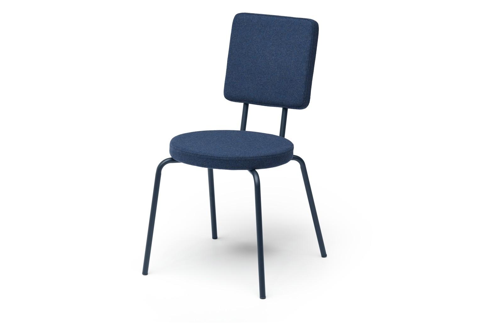 Option Dining Chair Round Seat Square Backrest Dark Blue