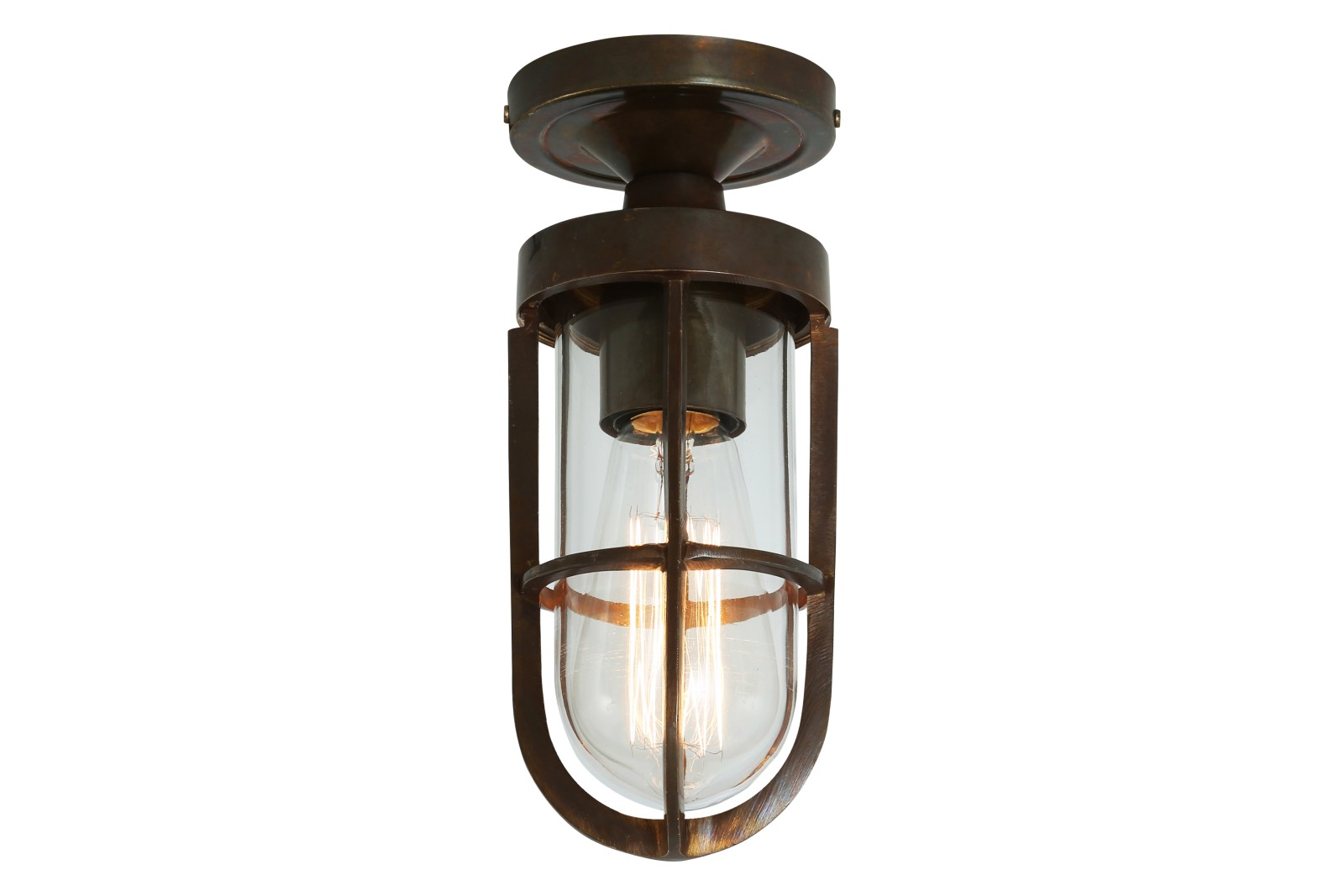 Oregon A Ceiling Light Antique Brass, Clear Glass