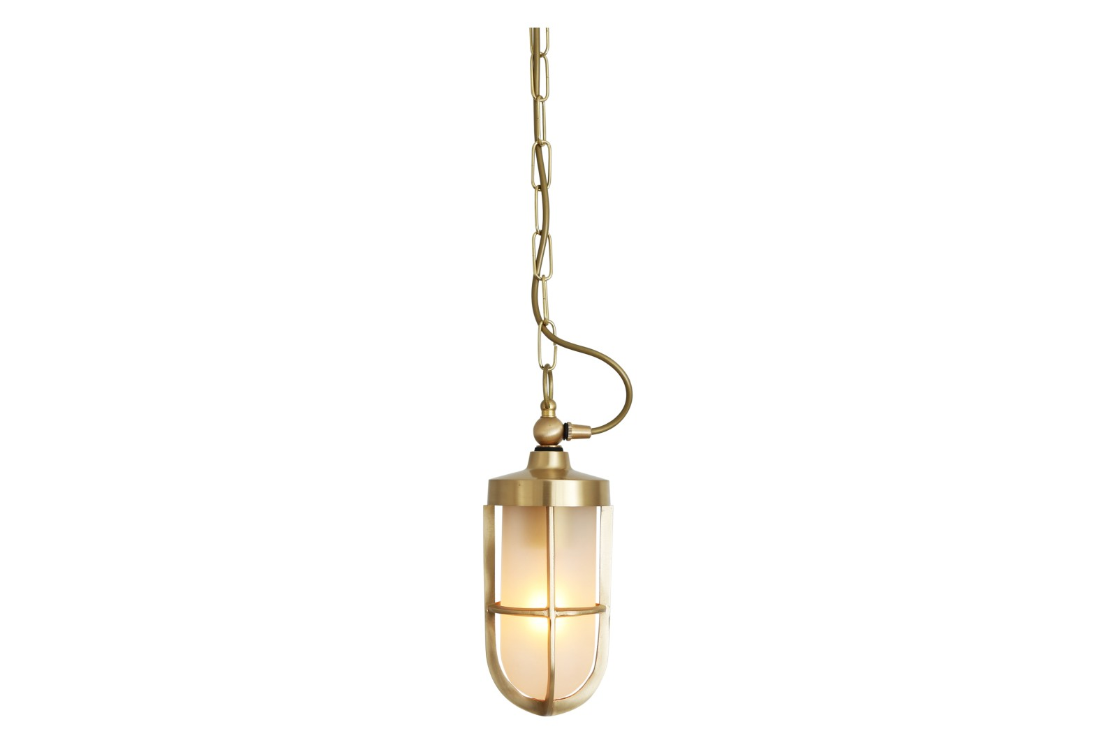 Oregon A Pendant Light Polished Brass, Frosted Glass