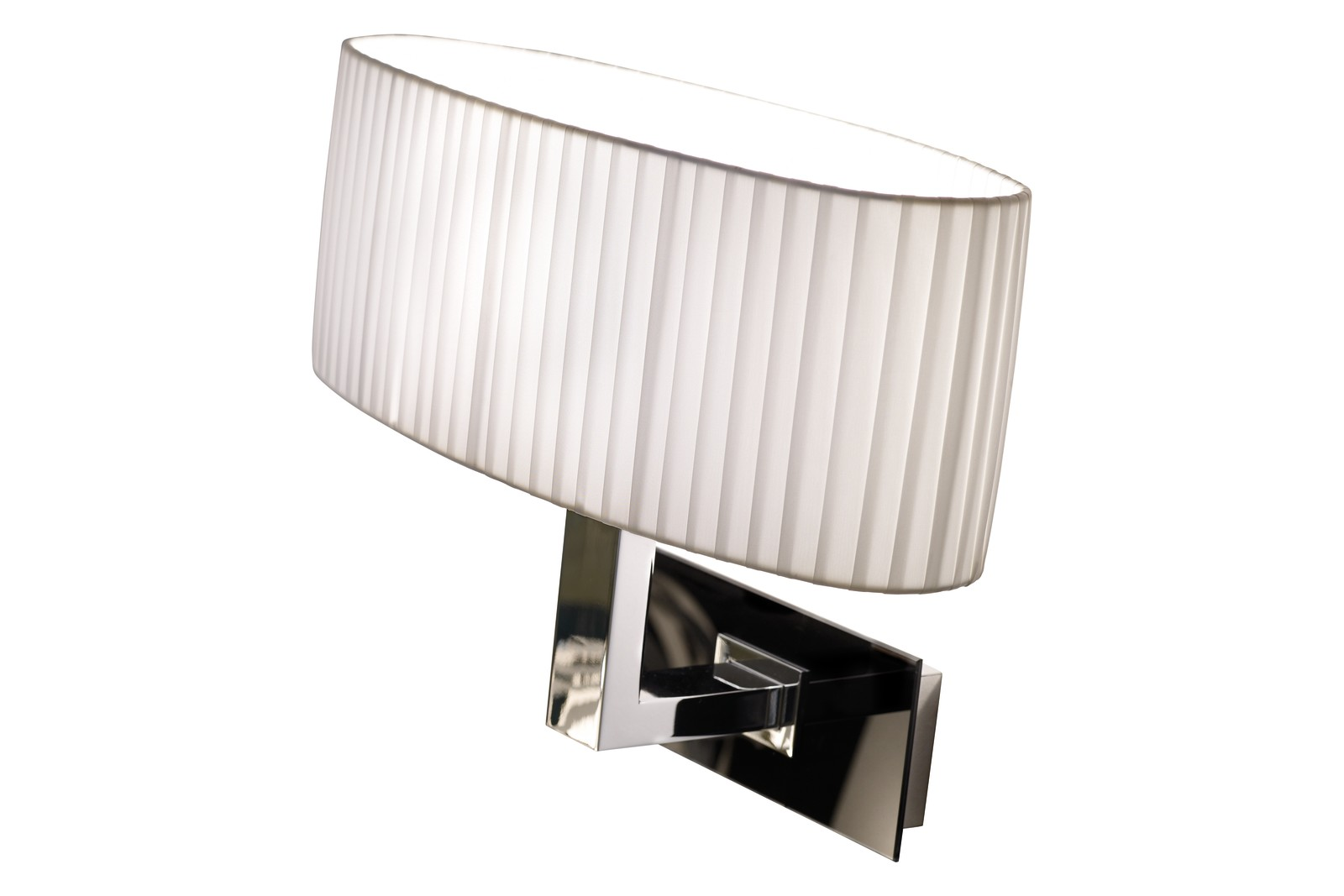 Oval A/01 Wall Light Chrome, White Translucent Ribbon