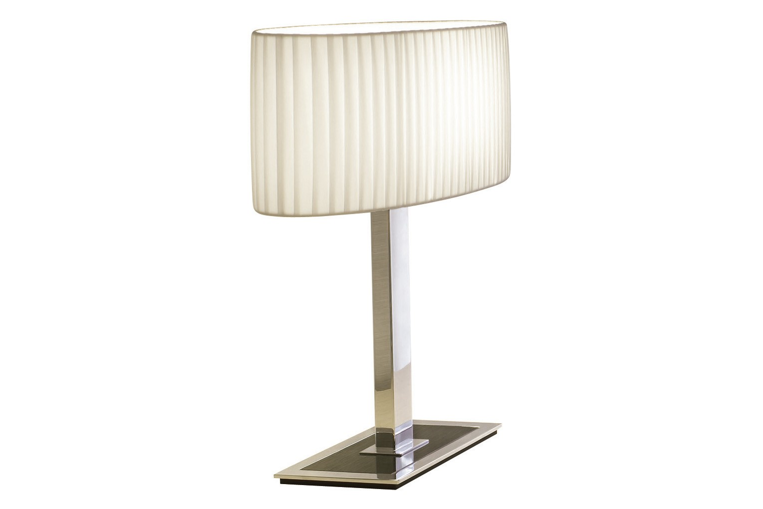 Oval M Table Lamp Nickel Black Glass, White Translucent Ribbon, 59cm