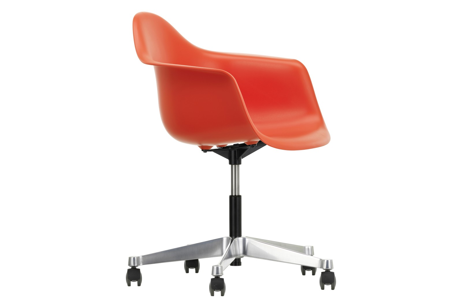 PACC Eames Plastic Armchair 03 red, 02 castors hard - braked for carpet