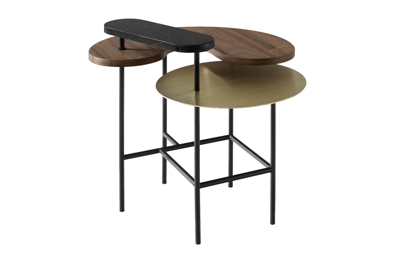Palette JH8 Side Table Brass, Nero Marquina, lacquered walnut