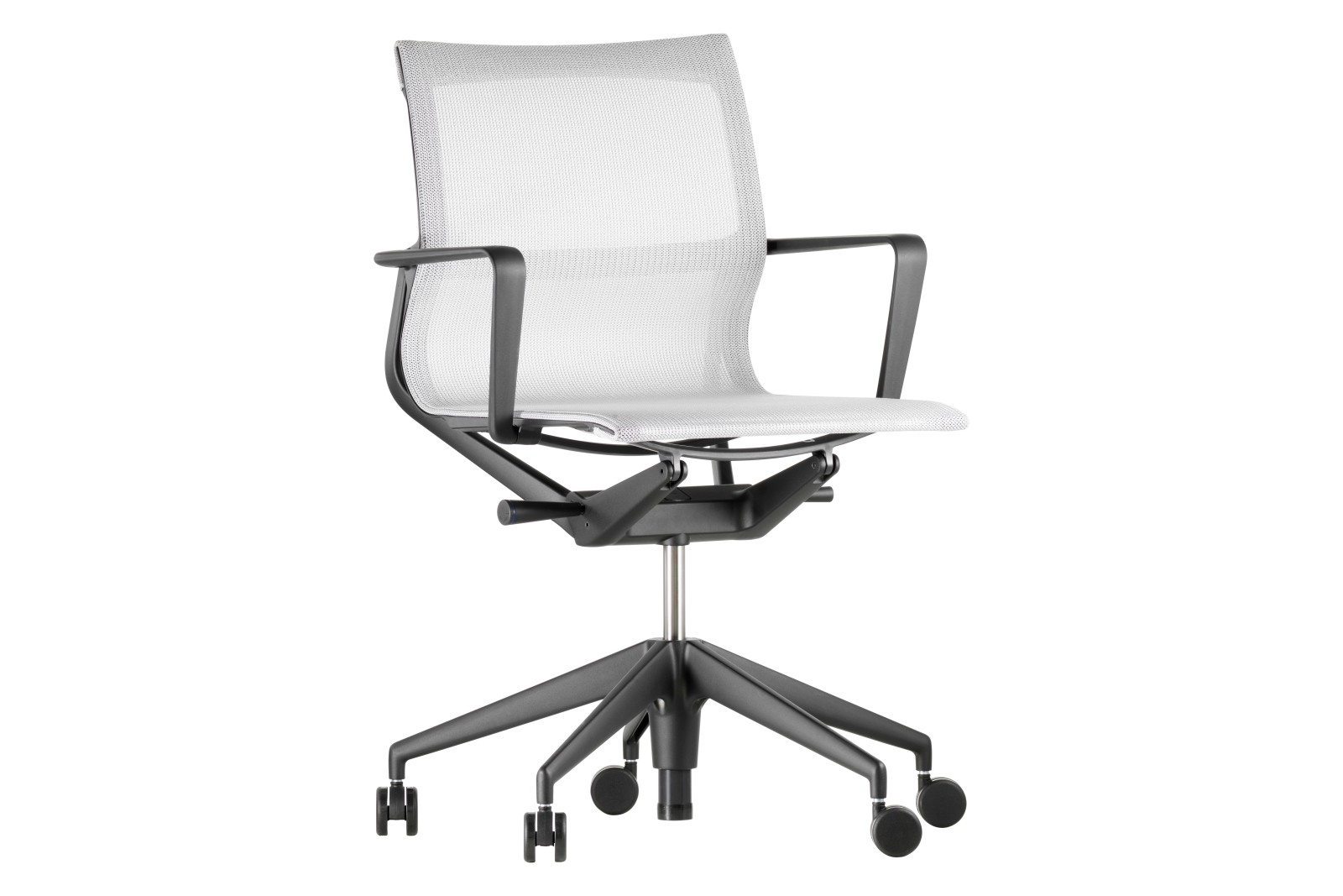 Physix Five - Star Base Office Chair TrioKnit 01 silver, Aluminium base coated in deep black, 02 cas