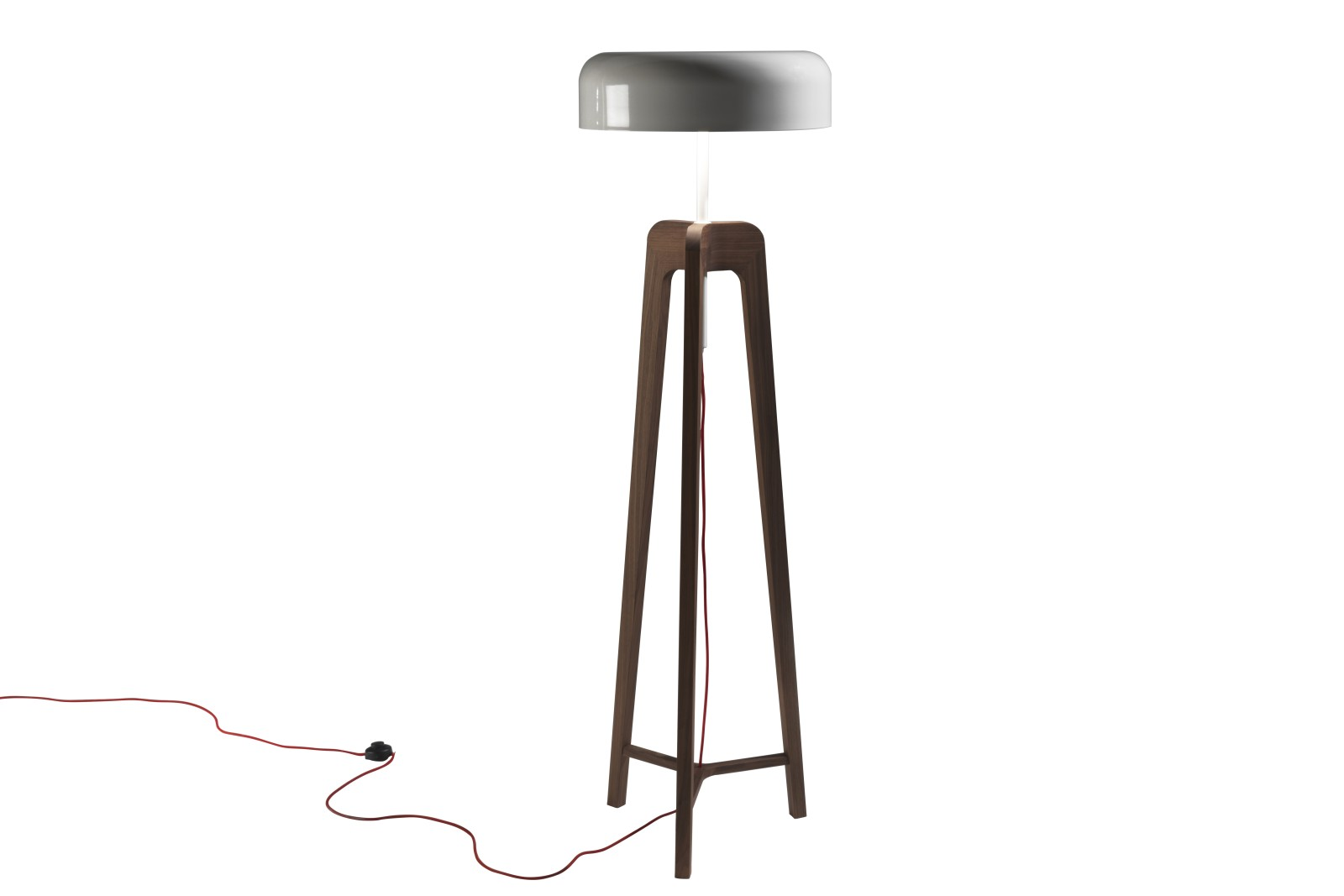 Pileo Floor Lamp Grey Petwer, Canaletta Walnut
