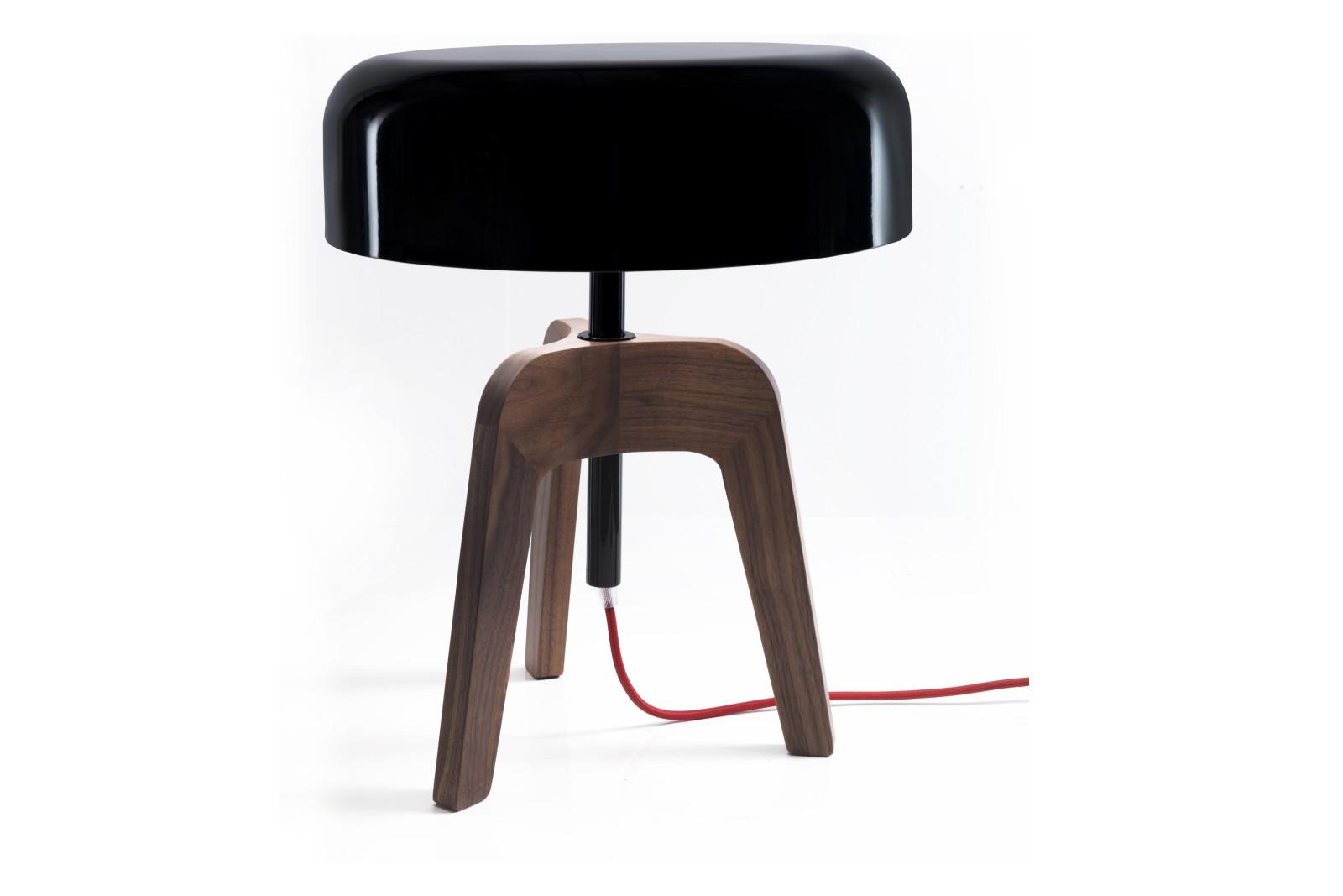 Pileo Table Lamp Black Ral 9005, Canaletta Walnut