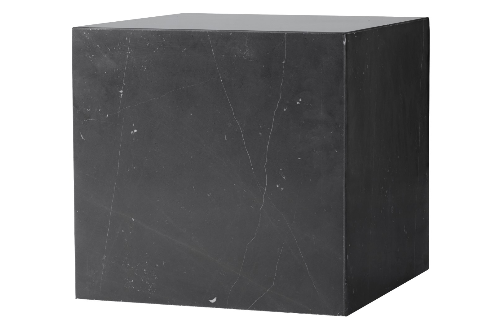 Plinth Cubic Side Table Black Marble