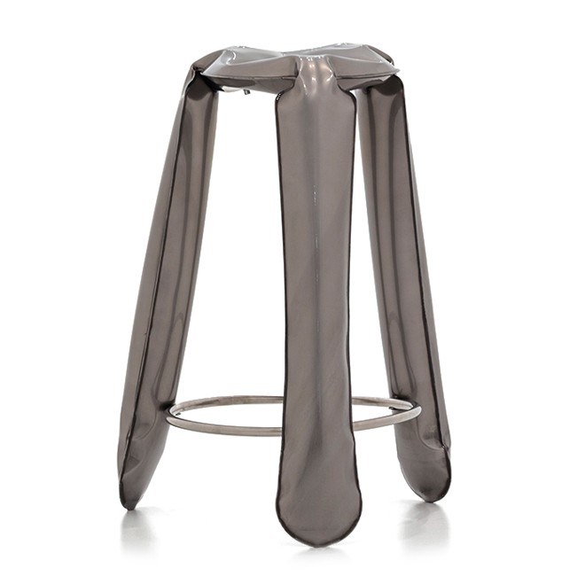 Plopp Barstool Raw Lacquered Industrial Steel
