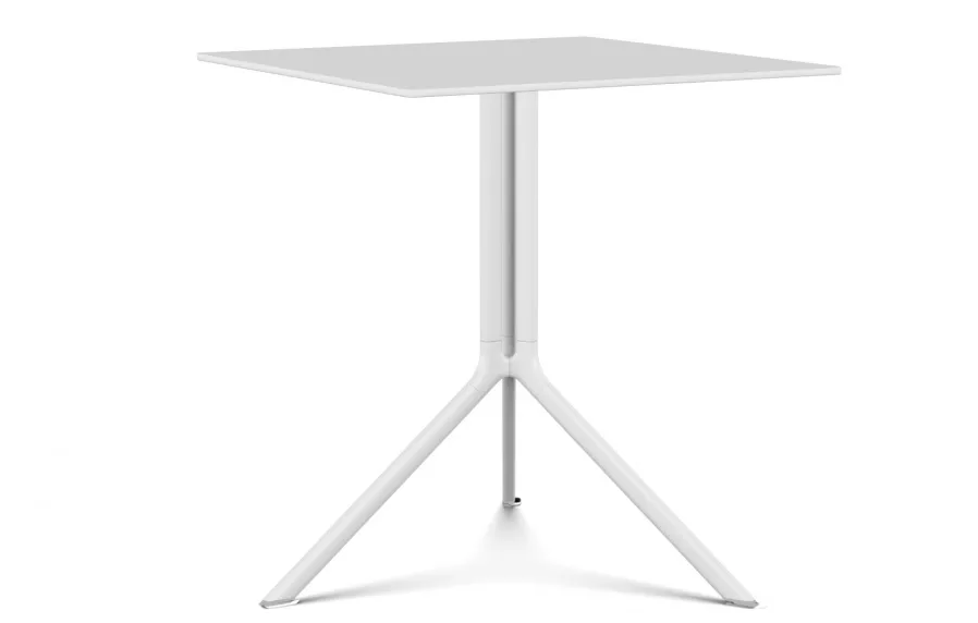 Poule Square Table, Fixed Top White lacquer, Pure White Laminate, L59 x D59 x H75