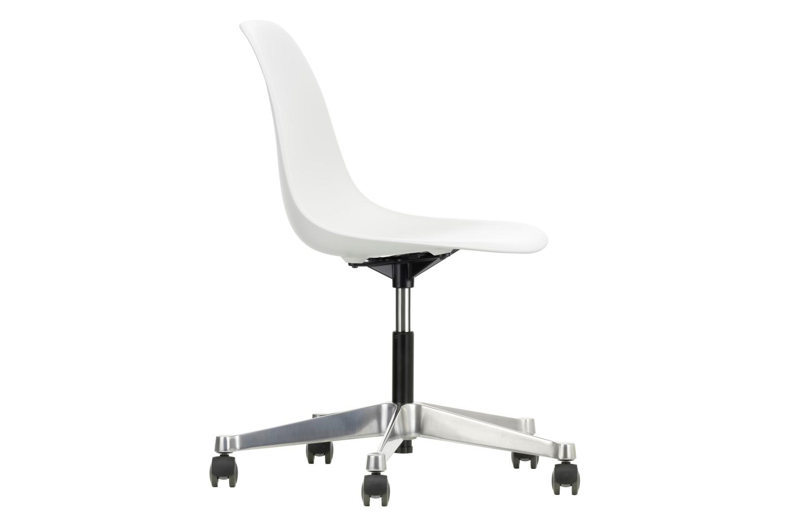 PSCC Eames Plastic Side Chair 02 castors hard - braked for carpet, 04 white
