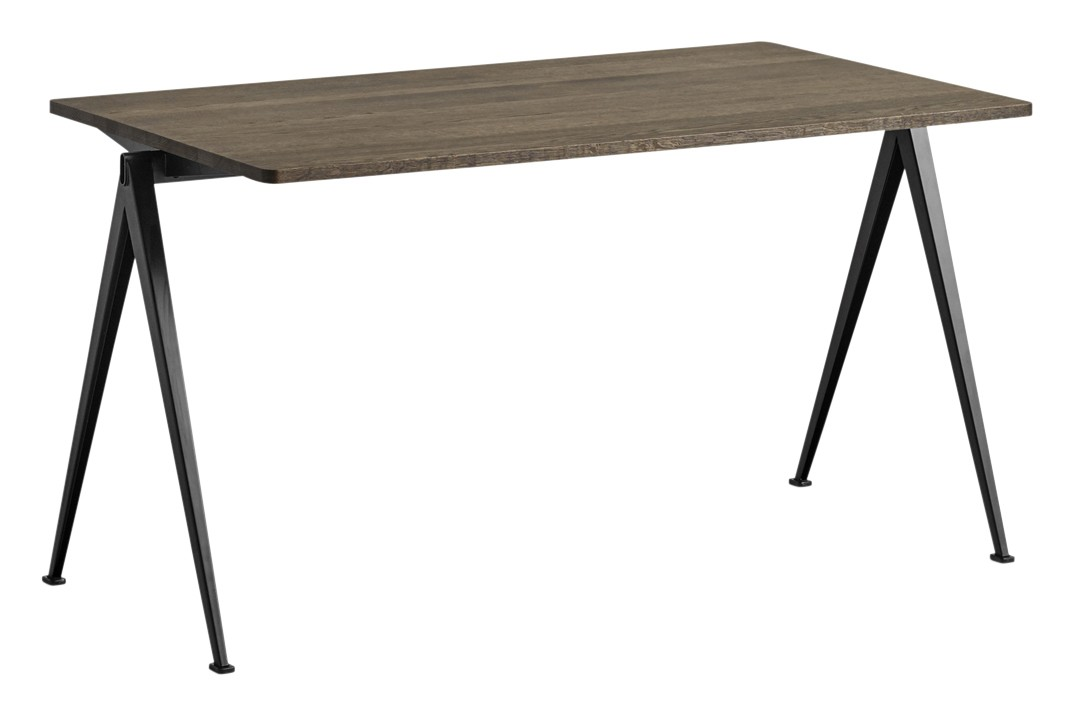 Pyramid 01 Dining Table Wood Smoked Oak, Metal Black, L140 x W75