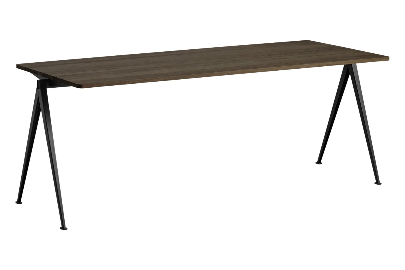 Pyramid 01 Dining Table Wood Smoked Oak, Metal Black, L200 x W75